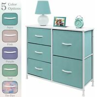 Nightstand Chest 5 Drawers Bedside Dresser Furniture for Bedroom Office Organize