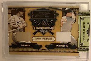 2008 Prime Cuts Cal Ripken Jr Lou Gehrig Dual Jersey Card #ed 11/25