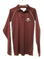 Philadelphia Phillies Russell Mens Burgundy Long Sleeve Shirt Size Large