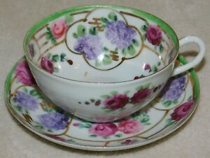 ANTIQUE EGG SHELL CHINA TEA CUP & SAUCER - HAND PAINTED FLORAL - PERFECT