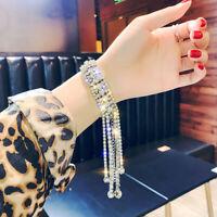 Simple Fashion Bracelet For Women Shiny Long Tassel Crystal Bangle Jewelry  Gift