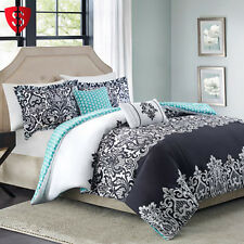 Comforter Set Queen Full 5 Piece Bedroom Pillows Bedding Shams Home Decor Damask