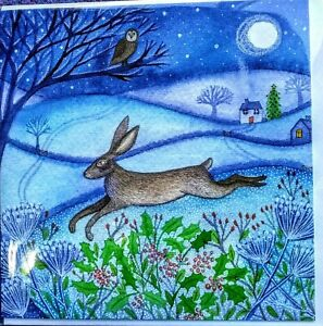 birthday yule christmas greetings card hare full moon pagan wife wicca owl mum