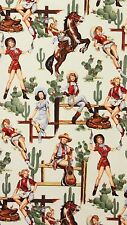 AH222 Sexy Pin Up Girl Cowgirl Horse Saddle Cactus Western Cotton Quilt Fabric
