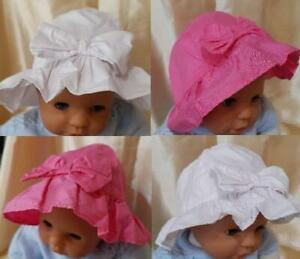 LARGE BOW BABY SUN HAT AVAILABLE IN PINK OR WHITE 0-6 MONTHS