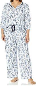 NEW KN KAREN NEUBURGER FLORAL 3/4 SLEEVE 2 PC PAJAMA LONG PANTS SET 1X 1XL $72
