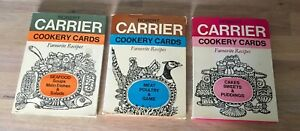3 Robert Carrier Cookery Cards Sets Favourite Recipes Seafood Meat Cakes