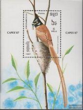 Cambodge Bloc 153 (complète edition) neuf avec gomme originale 1987 Oiseaux