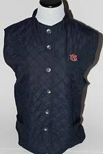 NWT Auburn Tigers Women's Quilted Button Front Water Resistant Vest, Navy, 3X