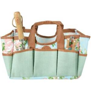Rose Print Garden Tool Bag with 8 pockets and roomy interior. Gift for gardener