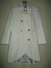 ladies MISS SIXTY LIGHT CREAM WOOLBLEND COAT SIZE MEDIUM