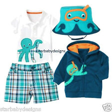 NWT Gymboree OCTOPUS HUGS Outfit 3-6 Mths,HOODIE,TOP,SHORTS,HAT,Baby Shower Gift