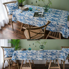 Rectangle Square Tablecloth Blue Printed Outdoor Picnic Home Dining Table Cloth