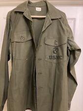 Rare Sateen Field Combat Utility Og Shirt Vietnam Usmc Vintage