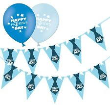 """Happy Fathers Day Bunting & 12"""" Blue Assorted Latex Balloons - Tie - pack of 20"""