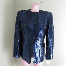NWT New Jones NY Womens Formal Sequin Dress Jacket Coat Blue 100% Silk Sz 8
