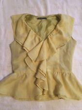 Yellow fashion Ruffled Blouse Size S