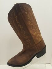 Old West Mens Brown Leather Cowboy Boots Size 10 EE OW2051