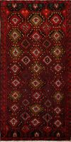 Vintage Tribal Geometric Balouch Oriental Area Rug Hand-Knotted Foyer Carpet 4x6