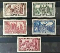 SAAR / SARRE 1950 YT 278-282 NEW STAMPS COMPLETE SERIES MLH VF