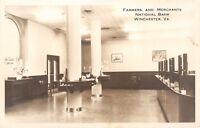 Winchester Virginia~Farmers & Merchants National Bank~Banking Room~1940s RPPC