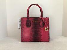 Michael Kors Mercer Medium Messenger Embossed Leather Bag Ultra Pink