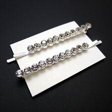"Set of 2 Silver 2-3/8"" Rhinestone Crystal Jeweled Hair Clips Bobby Pins Slides"