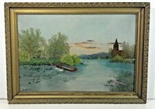 "WOW - 1896 - FOLK ART - ""Dusk Over the Lake"" - NEW YORK Oil on Board SIGNED"