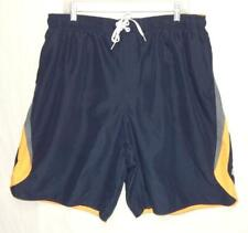 NIKE Men's Navy Blue Orange Gray Polyester Swim Trunks Shorts Size 3XL