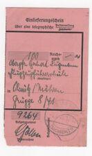 2/230 EINLIEFERUNGSSCHEIN FLUGZEUGFÜHRERSCHULE HEIDENAU MÄHREN FLUGZEUG 1942