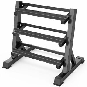 Dumbbell Rack Storage Holder Dumbell Stand Gym Wide Heavy Duty 3 Tier Black