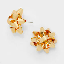 """Bow Earrings Christmas Gift Ribbon Metal 5/8"""" Stud Holiday Jewelry GOLD Party"""