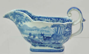 Antique Pearlware Blue Staffordshire Deer and Folly Gravy Boat  19th century.