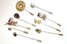 VINTAGE TO NOW FASHION JEWELRY STICK PIN LOT, TRIFARI, S COVENTRY, JADE & MORE