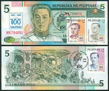 100 Years 5p NDS Philippine Centennial KALAYAAN w/  Stamp Banknote #5