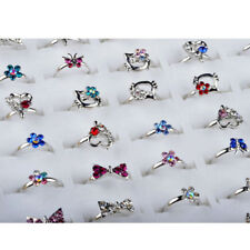 10/20Pcs Wholesale Mix Lots Cute Crystal Children Kids Silver Adjustable Rings
