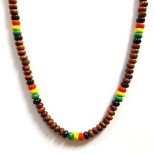BROWN RASTA REGGAE JAMAICAN SURFER BEACH STYLE BEADED NECKLACE WITH CLASP
