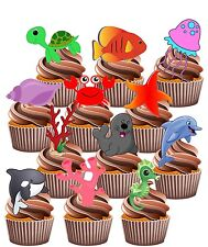 Under The Sea Party Pack - 36 Edible Cup Cake Toppers Children's Decorations