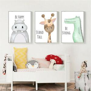 Nordic Cartoon Animal Canvas Print Poster Kid Bedroom Nursery Picture Wall Decor