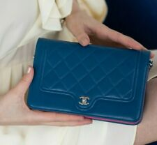 VERIFIED Authentic CHANEL Quilted Leather Wallet on Chain WOC Mini Flap Bag RARE