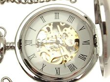 Solid pewter fronted mechanical skeleton pocket watch - Fly Fishing design 27