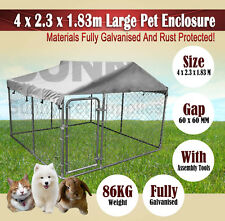 + Roofing 4 x 2.3 x 1.83m Large Pet Dog Enclosure Run Kennel Chain Link Fence BN