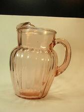 Depression Era Pink / Peach Glass Full Size Water Juice Iced Tea  PITCHER JUG