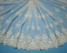 "16""*1yard Vintage Off White Embroidered Tulle Lace Fabric Trim ~ Bridal Wedding"