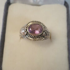Vintage Detailed Sterling Silver 925 Oval Amethyst w/ Leaf Etched Design Ring