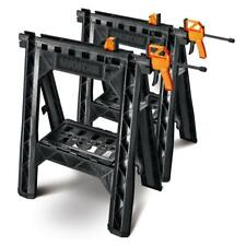 WORX Clamping Sawhorse Pair with Bar Clamps, Built-in Shelf and Cord Hooks 27-in