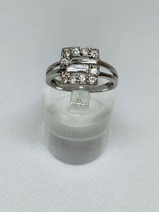 Gorgeous Sparkling White Topaz Ring Solid Silver 925 Size I1/2~J #10138