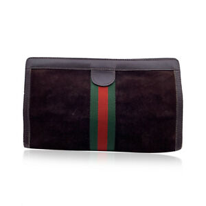 Authentic Gucci Vintage Brown Suede Large Cosmetic Bag Clutch with Stripes