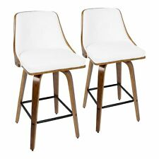"""OPEN BOX Gianna 26"""" Mid-Century Modern Counter Stool in Walnut with White Fau..."""