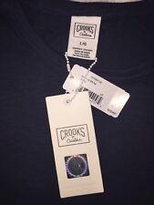 Crooks & Castles LARGE S/S T-shirt NAVY BLUE CREW new AUTHENTIC MSRP $55.00